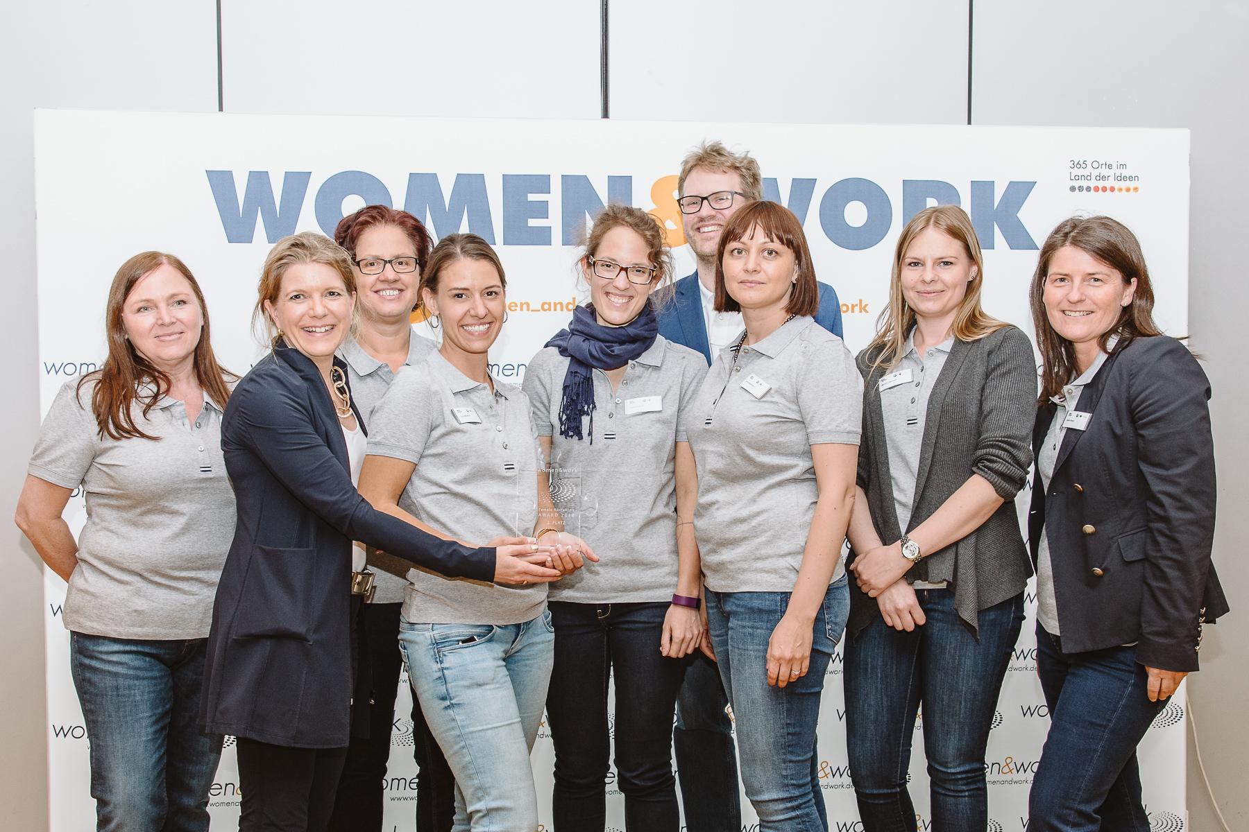 Kongressfotografie - women&work - Gruppenfoto eines Gewinnerteams mit Pokal